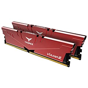TEAMGROUP T-Force Vulcan Z DDR4 16GB Kit (2 x 8GB) 2666MHz (PC4 21300) CL18 Desktop Memory Module Ram - Red - TLZRD416G2666HC18HDC01 (Color: Red, Tamaño: 2666MHz (2x8GB))