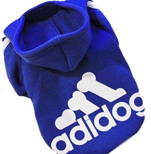 Ducomi® Adidog - Felpa Sportiva Invernale in Cotone con Cappuccio e Logo per Cani e Gatti (XL, Blue)