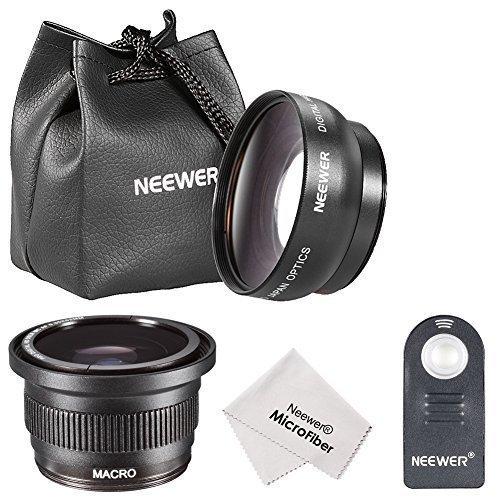Neewer 52MM Foto & Video-Objektiv mit Makro & IR drahtlose Fernbedienung Kit für Nikon DSLR-Kameras, wie Nikon D7100 D7000 D5200 D5100 D5000 D3300 D3000 D90 D80 DSLR-Kameras, Kit enthaelt: (1) 52MM 0.45x Weitwinkel-Objektiv + (1) 52MM 0.35x HD ultra-Fischaugen Linsen + (1) Abnehmbares Makroobjektiv + (1) IR drahtlose Fernbedienung Ersatz für ML-L3 + (1) Mikrofaser Reinigungstuch + (1) Objektiv-Tragetasche