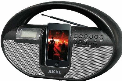 Akai iPod and iPhone Docking Station with Remote Control, AM/FM Radio and Alarm Function