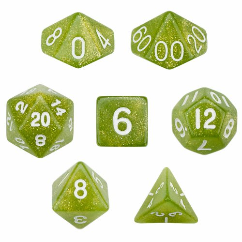 7 Die Polyhedral Dice Set - Serpent (Green Glitter) with Velvet Pouch By Wiz Dice - 1