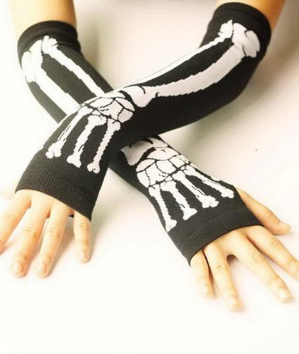 Forever Lover Cool New Black Arm Warmer Fingerless Dress Gloves - Punk Gothic Dark Rock White Skeleton Long - 1