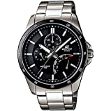 Casio Stainless Steel Edifice Black Dial Quartz Date Retrograde Day EF341D-1AV