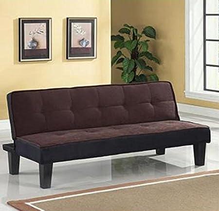 Color Block Futon Adjustable Sofa, Brown