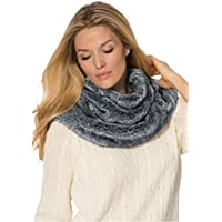 Woman Within Womens Reversible Infinity Scarf (Medium Heather Grey)