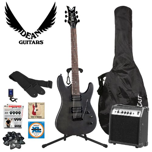 Dean Guitars VNXMT-TBKS-M10-KIT Vendetta XMT Black Satin Electric Guitar with Tremolo - Guitar Kit with Amp - Includes: Guitar Cable, Guitar Strap, Planet Waves 12-Pick Shredder Pack, Stand, Gig Bag and 10-Watt Amp