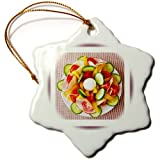 3dRose orn_98605_1 Photo of Delicious Salad Plate Snowflake Porcelain Ornament, 3-Inch