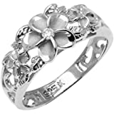 Sterling Silver Ring - Flower with Clear CZ and Satin Finish - 10 mm x 3 mm