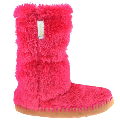 Capelli New York Teddy Fur Boot With Elastic & Toggle Girls Indoor Slippers Ferry Fuchsia 10/11