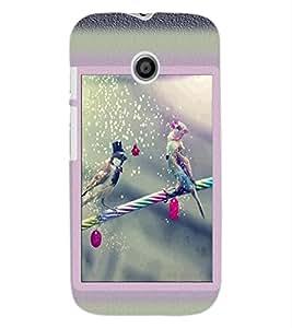 ColourCraft Love Birds Design Back Case Cover for MOTOROLA MOTO E