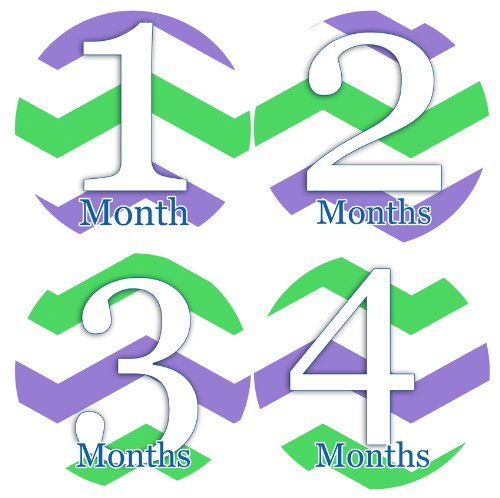 GREEN PURPLE CHEVRON LILAC Baby Month By Month Stickers - Baby Month Onesie Stickers Baby Shower Gift Photo Shower Stickers