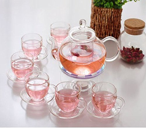 Kendal 27 oz glass filtering tea maker teapot with a warmer and 6 tea cups CJ-BS814 (Cup Teapot compare prices)