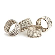 buy Elegance Silver Napkin Rings With Crystals (Set Of 4)