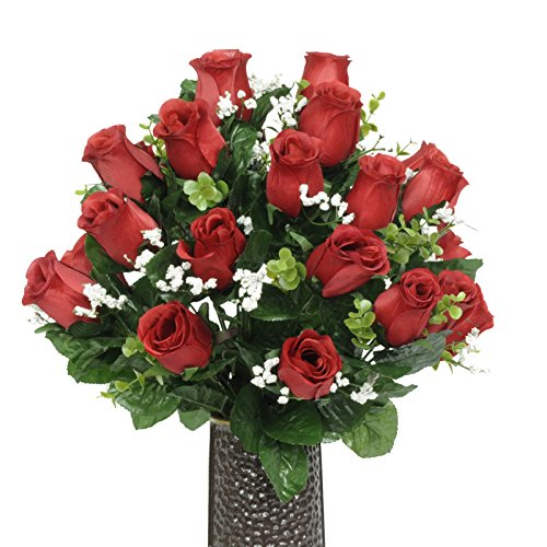 Red Rose Silk Flower Bouquet with Stay-In-The-Vase® Design Flower Holder(SM1584)