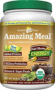 Amazing Grass Amazing Meal Supplement Powder, Cafe Mocha, 14.9 Ounce