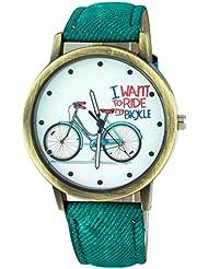 Addic Bicycle Styled Denim Strap Analog Watch - For Women
