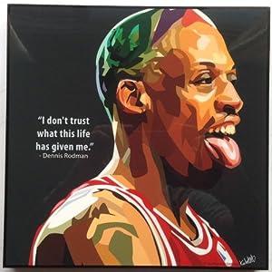 デニス・ロッドマン シカゴ・ブルズ 海外製 NBAグラフィックアートパネル 木製ポスター インテリア