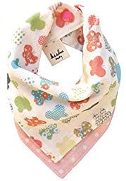 Kishu Baby Girl Bib, Boho Butterfly Bandana Bib, One Size Multicolor (pink)