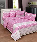 BeautifulHOMES Gorgeous Cotton Double Bedsheet With 2 Pillow Cover - White and Pink