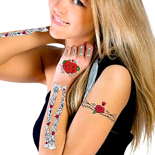 Glitter Red Roses Day of the Dead Hand & Arm Bones Temporary Tattoo Kit (Dead Red Ca compare prices)