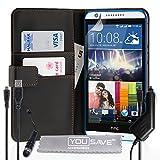 YouSave Accessories HT-DA03-Z567MPCU Etui portefeuille en PU cuir avec mini stylet/chargeur allume-cigare/C�ble micro USB pour HTC Desire 820 Noir