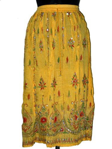 Womens Fashion Skirt Beaded Boho Long Skirts in Lemon Yellow and Red with Sequin Embroidery 36&quot; Free Shipping