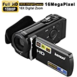 KENUO HD 1080P 16MP Camcorder Digital Video Kamera 3,0 Zoll 16:9 LCD Screen 16x Zoom DV Schwarz