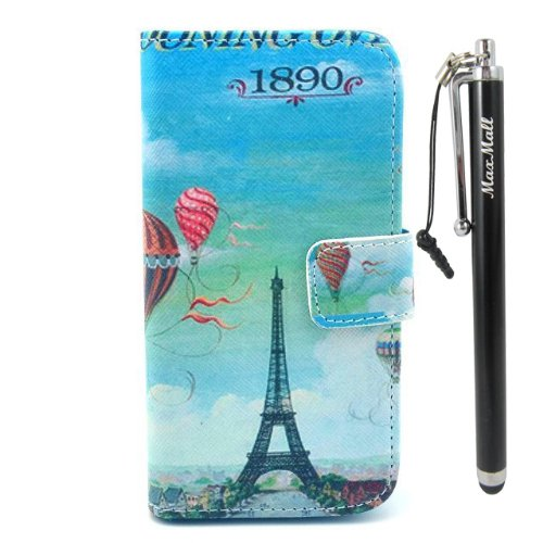 Maxmall Eiffel Tower Hot Air Balloon Pu Leather Stand Card Wallet Case Cover For Samsung Galaxy Siv Mini I9190 front-825156