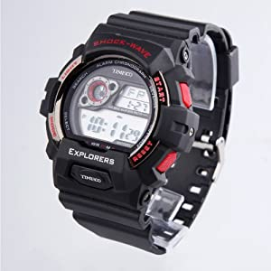 TIME100 LCD Multifunction Red Bezel Sport Electronic Watch #W40016M.01A