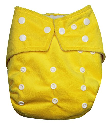 See Diapers One Size Minky Baby Cloth Diaper 2 Microfiber Inserts Yellow - 1