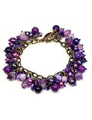 Handmade Purple Beaded Bracelet with Jade, Amethyst, Freshwater Pearl and Swarovski Crystals - 8 Inch Long - Gift...