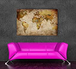 World map decoration oil painting canvas art mapa mundi picture for home wall decoration Cuadros Decoracion art picture No Frame