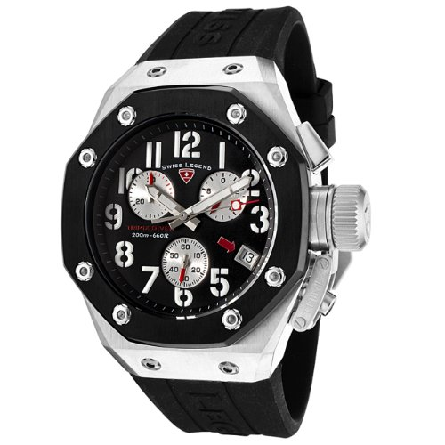 Swiss Legend Men's 10541-01-BB Trimix Diver Collection Chronograph Black Rubber Watch