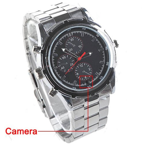 4GB Luminescent Watch with metal Watchcase Wristband+ Video Capturing+Web-Camera+Voice Recorder