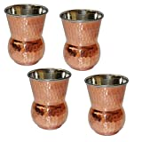 Copper And Stainless Steel Drinkware Accessory Mughlai Tumbler Water Glass, Set Of 4, Height 11 Cm