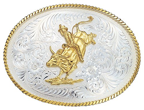 Montana Silversmiths Large Silver Engraved Western Belt Buckle w/ Bull Rider