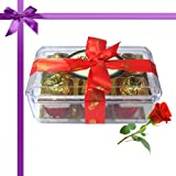 Golden Treasure Of 12pc Truffles Box With Red Rose - Chocholik Luxury Chocolates