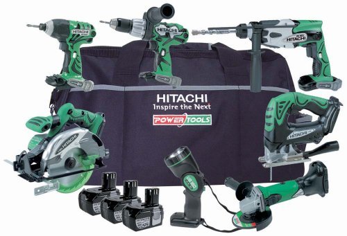 Hitachi KTL718C 7 Piece Cordless Tool Kit (18 V, 3 x Li-Ion Batteries & Bag)