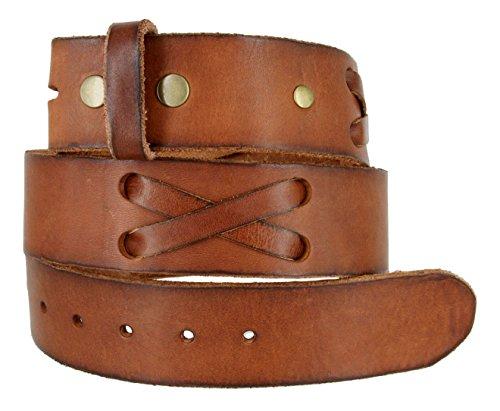 "TB105 Mens 100% Full Grain Genuine Leather Western X-Laced Casual Jean Belt Strap 1.75"" Wide (BRN,42)"
