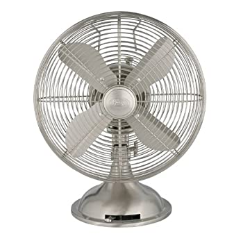 "Hunter 90400 12"" Metal Fan, Brushed Nickel Finish (Table Fan, Portable Fan)"