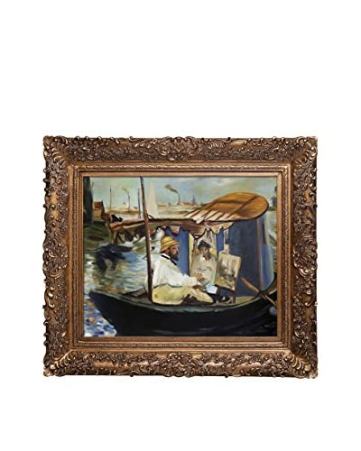 "Édouard Manet ""Claude Monet Working On His Boat In Argenteuil, 1874"" Reproduction Oil On Canvas"
