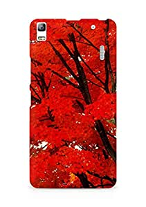 Amez designer printed 3d premium high quality back case cover for Lenovo A7000 (red leaves trees nature )