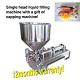 Yoli® Liquid or Paste Filling Machine, Pneumatic, Semi-auto Filler, Single Head with Cylinder, Piston Filler with Bottle Capping Machine 10-100ml