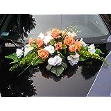 """Autoschmuck Autodeko Hochzeit 10 Rosen Dekor Verschieden Farben Komplett Rattan (Rot, Blumenstrauss - wei�-orange)von """"APM"""""""