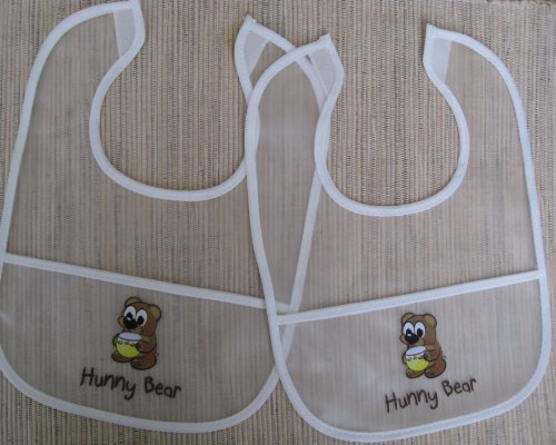 Hunny Bear 2-Pack Soft Infant Baby Small Bib Set, Durable Non-Toxic, Non-Allergenic, Waterproof Clear Gift Set