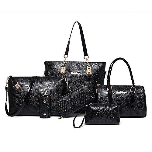women-handbagwomen-bagkingh-crocodile-pattern-pu-leather-tote-clutch-purse-6-pcs-set-bag-272-black