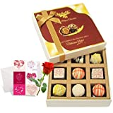 Valentine Chocholik's Luxury Chocolates - Enjoyable White Chocolates With Love Card And Rose
