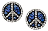 Adorable Large 3/4 Peace Sign Symbol Stud Earrings with Clear and Multicolor Blue Crystals for Teens Women