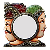 Ghanshyam Art Wood Villagers Face Wall Mirror (30.48 Cm X 4 Cm X 30.48 Cm, GAC100)