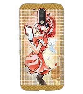 PrintDhaba Writing Girl D-3042 Back Case Cover for MOTOROLA MOTO G4 (Multi-Coloured)